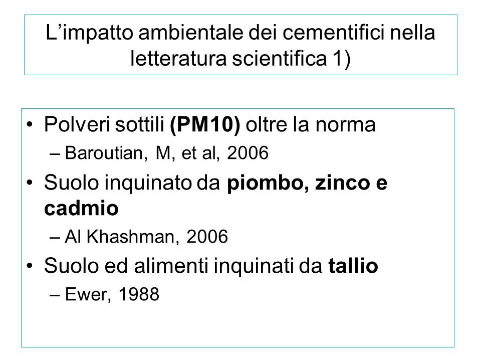 L'impatto ambientale dei cementifici nella letteratura scientifica 1)