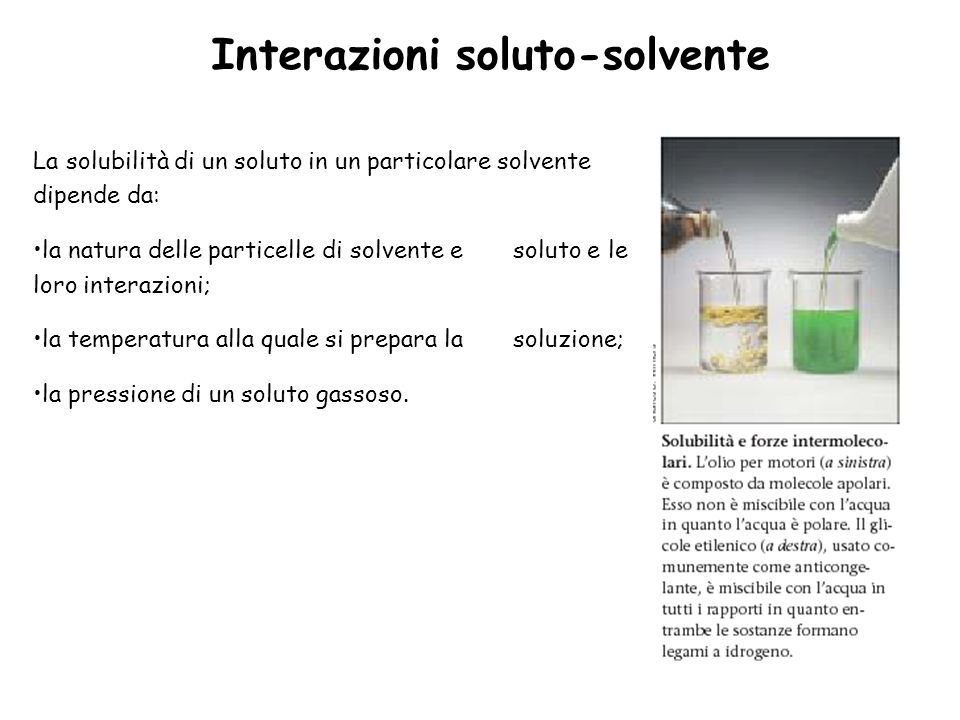 Interazioni soluto-solvente
