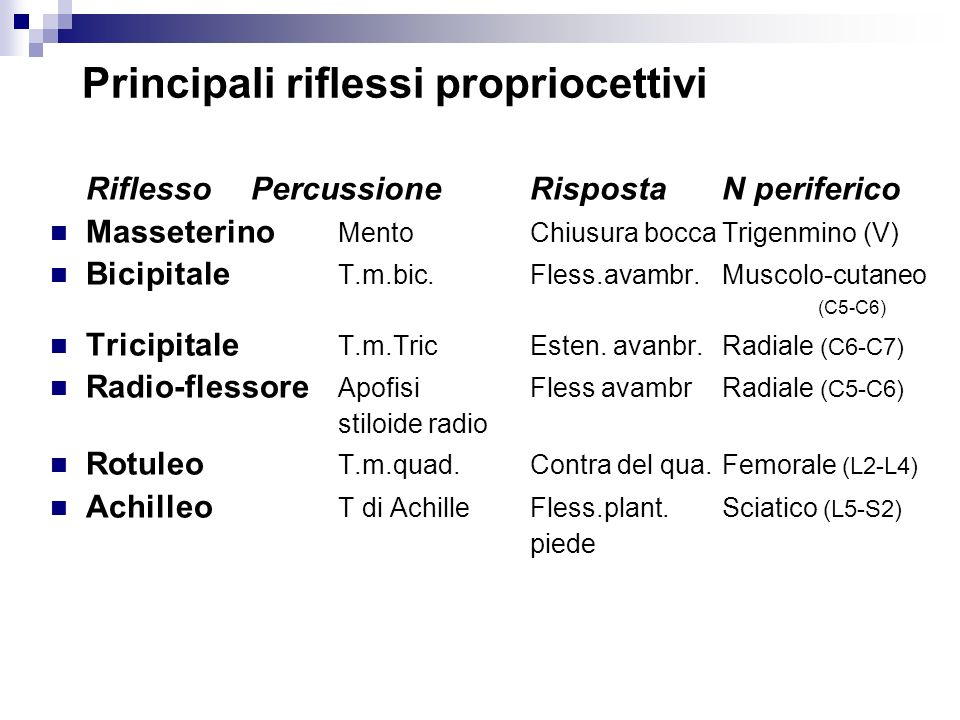 Principali riflessi propriocettivi