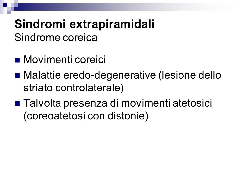 Sindromi extrapiramidali Sindrome coreica