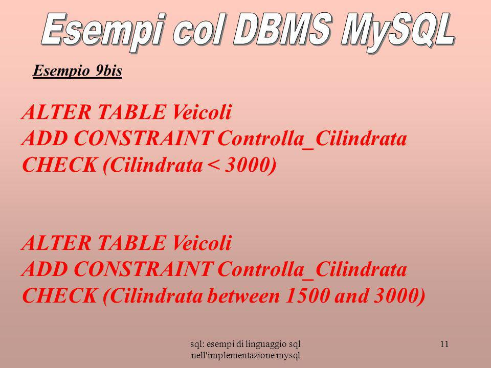 sql: esempi di linguaggio sql nell implementazione mysql