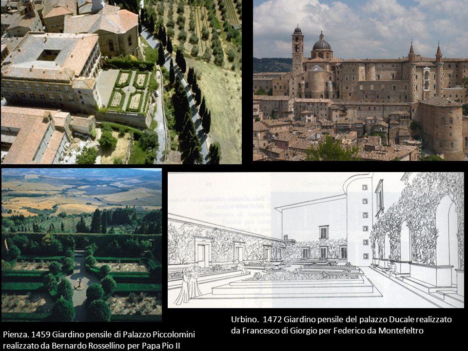 Urbino. 1472 Giardino pensile del palazzo Ducale realizzato da Francesco di Giorgio per Federico da Montefeltro