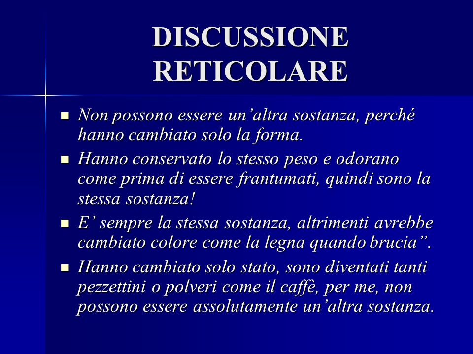 DISCUSSIONE RETICOLARE