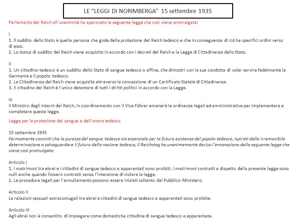 LE LEGGI DI NORIMBERGA 15 settembre 1935