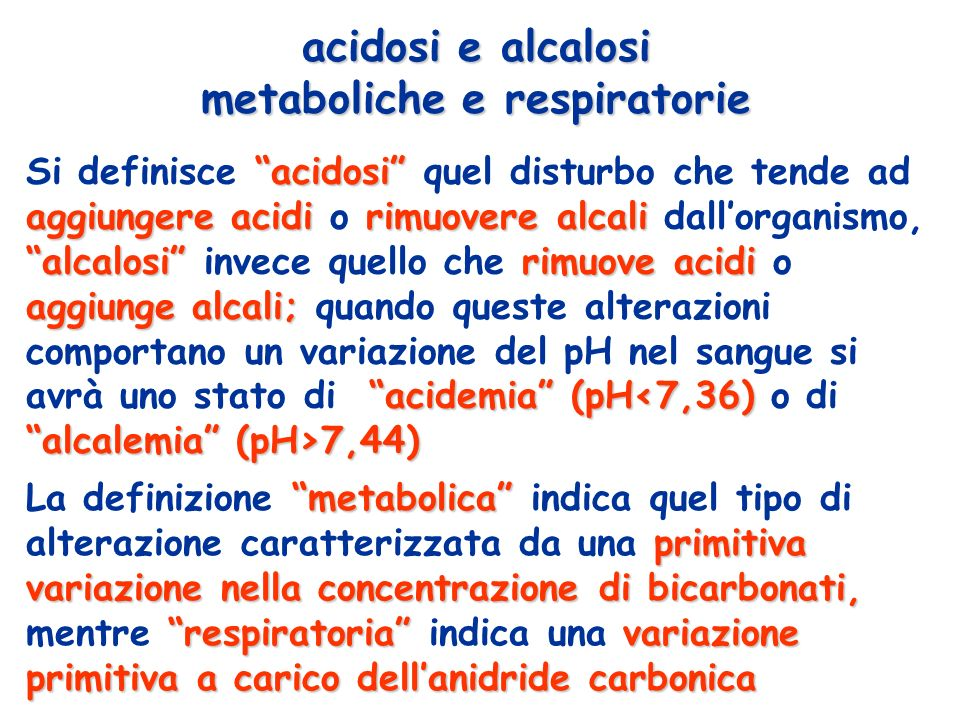 acidosi e alcalosi metaboliche e respiratorie
