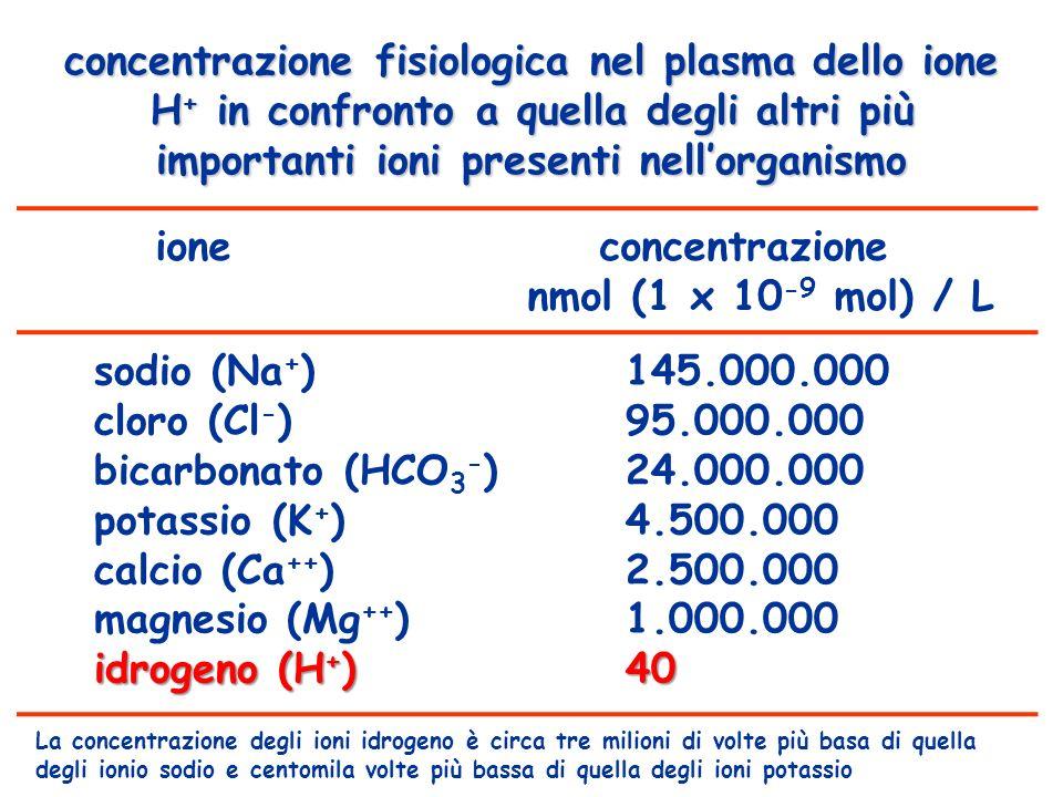 ione concentrazione nmol (1 x 10-9 mol) / L
