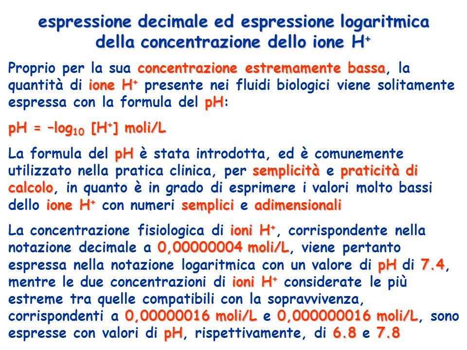 espressione decimale ed espressione logaritmica della concentrazione dello ione H+
