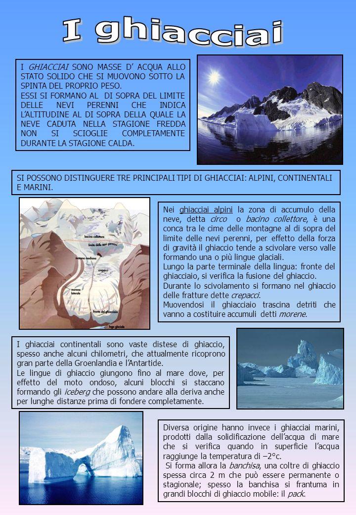 I ghiacciai I GHIACCIAI SONO MASSE D' ACQUA ALLO STATO SOLIDO CHE SI MUOVONO SOTTO LA SPINTA DEL PROPRIO PESO.