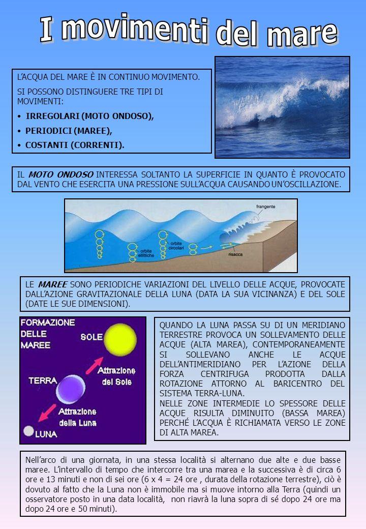 I movimenti del mare L'ACQUA DEL MARE È IN CONTINUO MOVIMENTO.