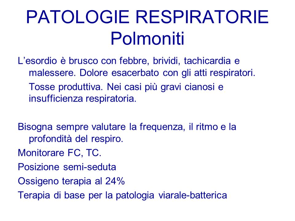 PATOLOGIE RESPIRATORIE Polmoniti
