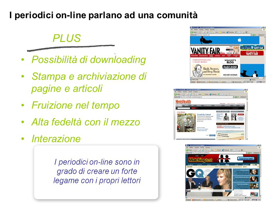 PLUS Possibilità di downloading