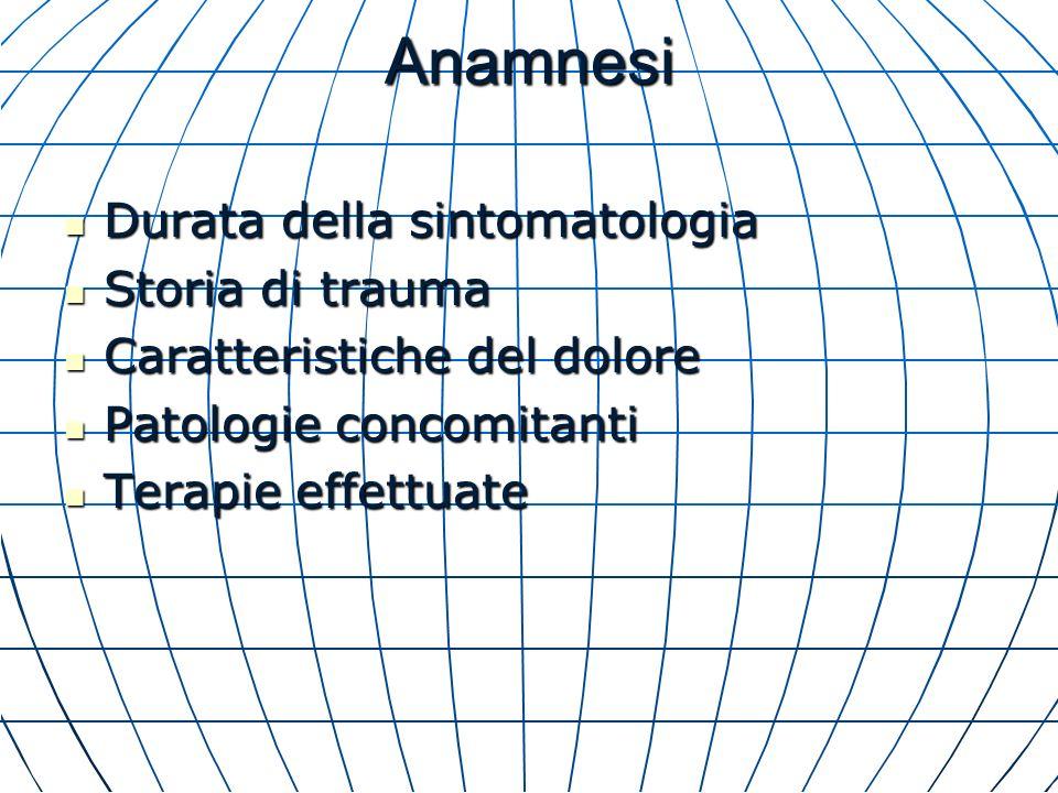 Anamnesi Durata della sintomatologia Storia di trauma