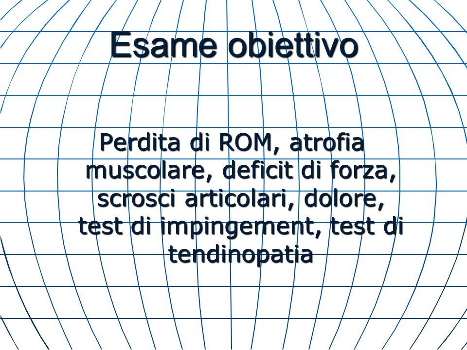 Esame obiettivo Perdita di ROM, atrofia muscolare, deficit di forza, scrosci articolari, dolore, test di impingement, test di tendinopatia.