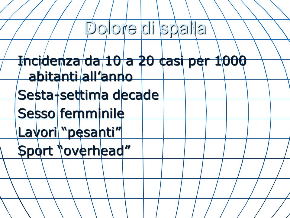 Dolore di spalla Incidenza da 10 a 20 casi per 1000 abitanti all'anno