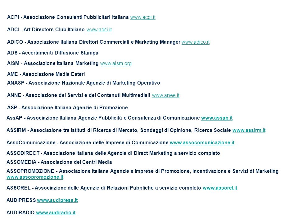 ACPI - Associazione Consulenti Pubblicitari Italiana www.acpi.it