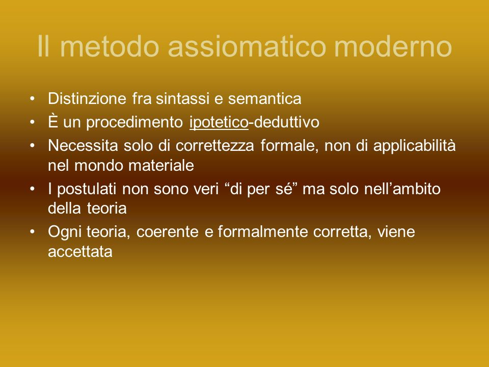 Il metodo assiomatico moderno