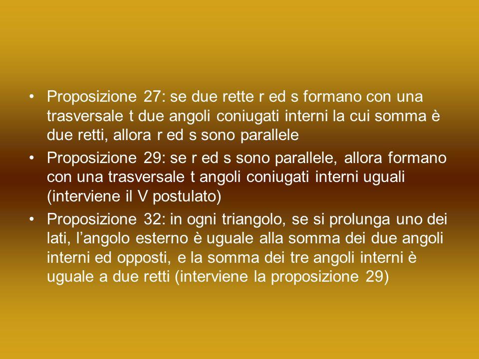 Proposizione 27: se due rette r ed s formano con una trasversale t due angoli coniugati interni la cui somma è due retti, allora r ed s sono parallele