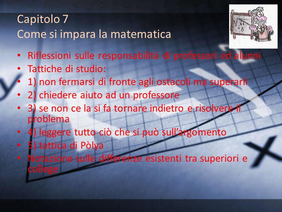 Capitolo 7 Come si impara la matematica