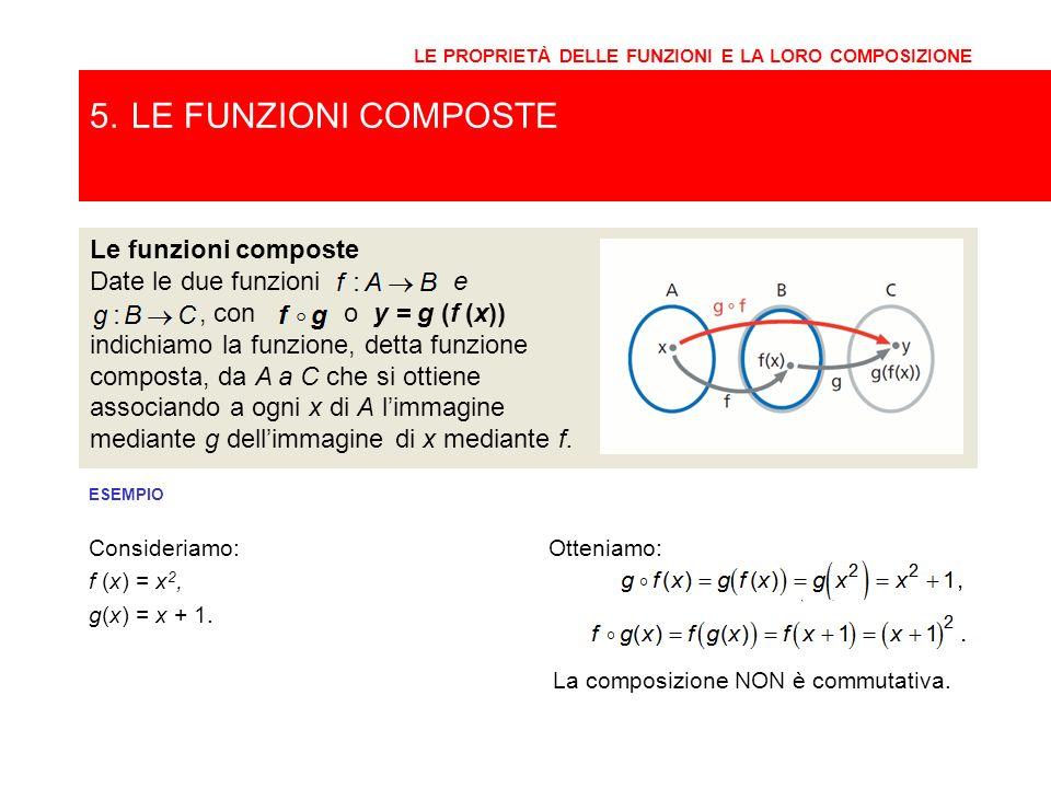 5. LE FUNZIONI COMPOSTE Le funzioni composte Date le due funzioni e