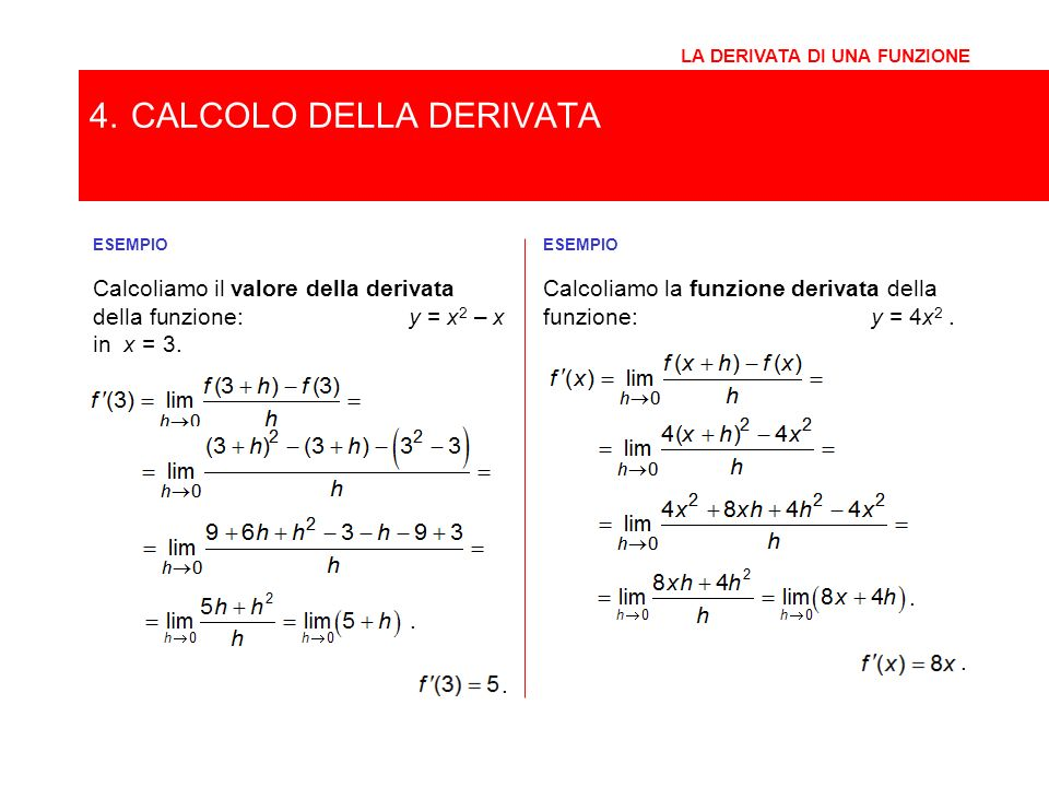 4. CALCOLO DELLA DERIVATA