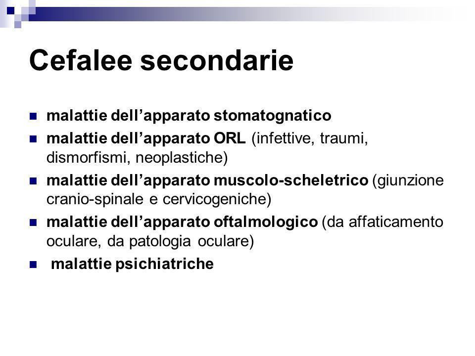 Cefalee secondarie malattie dell'apparato stomatognatico