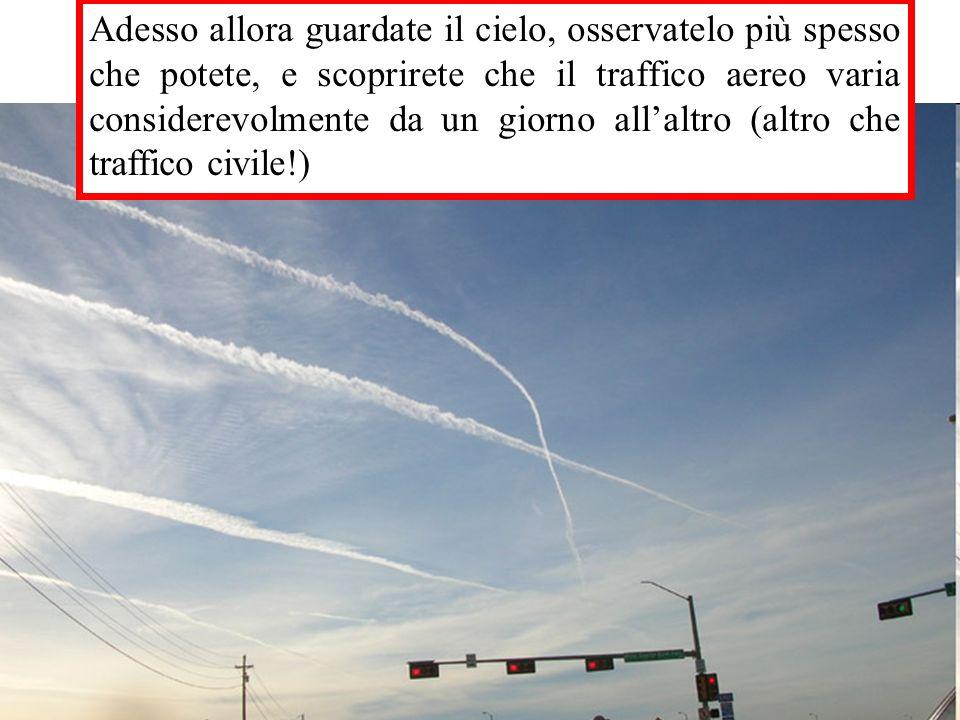 Adesso allora guardate il cielo, osservatelo più spesso che potete, e scoprirete che il traffico aereo varia considerevolmente da un giorno all'altro (altro che traffico civile!)