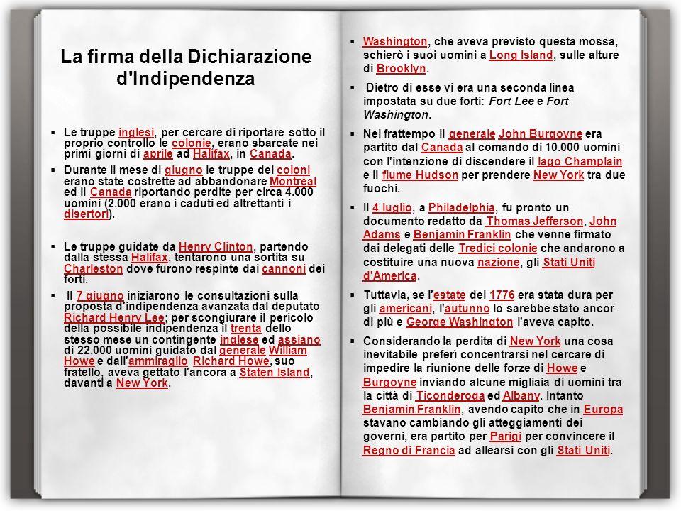 La firma della Dichiarazione d Indipendenza