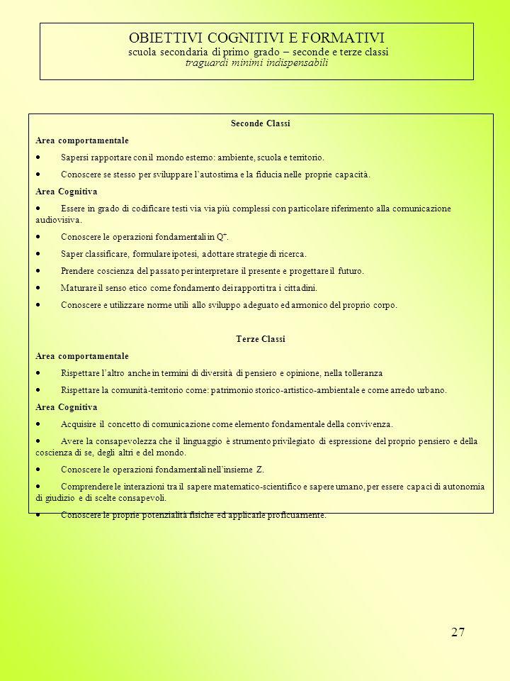 OBIETTIVI COGNITIVI E FORMATIVI scuola secondaria di primo grado – seconde e terze classi traguardi minimi indispensabili