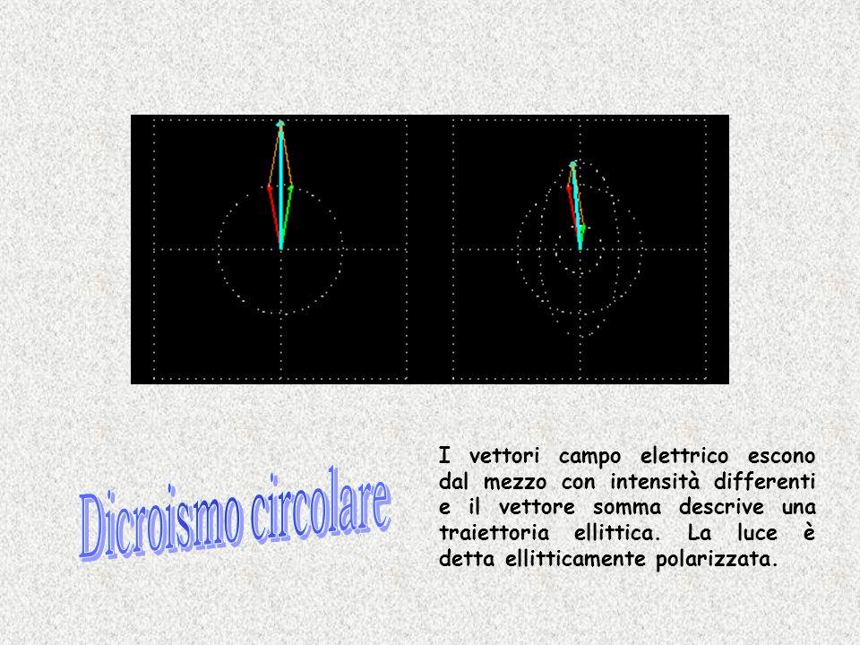 I vettori campo elettrico escono dal mezzo con intensità differenti e il vettore somma descrive una traiettoria ellittica. La luce è detta ellitticamente polarizzata.
