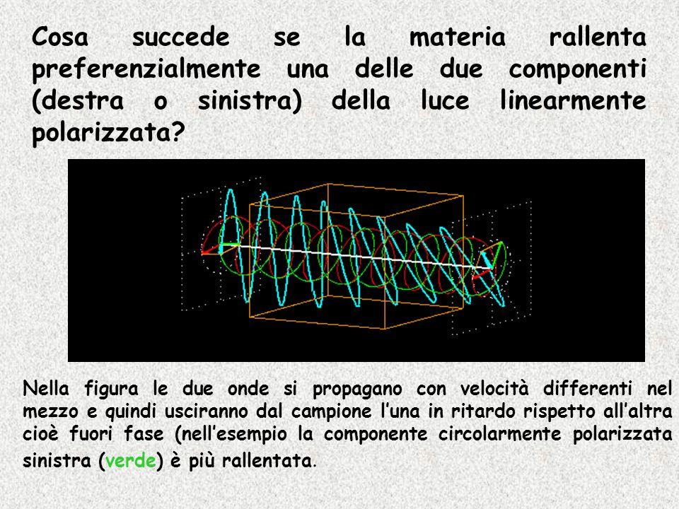 Cosa succede se la materia rallenta preferenzialmente una delle due componenti (destra o sinistra) della luce linearmente polarizzata