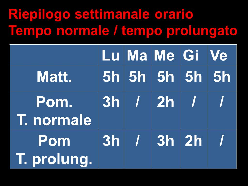 Matt. 5h Pom. T. normale 3h / 2h Pom T. prolung.