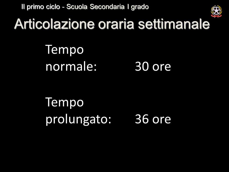 Articolazione oraria settimanale Tempo normale: 30 ore