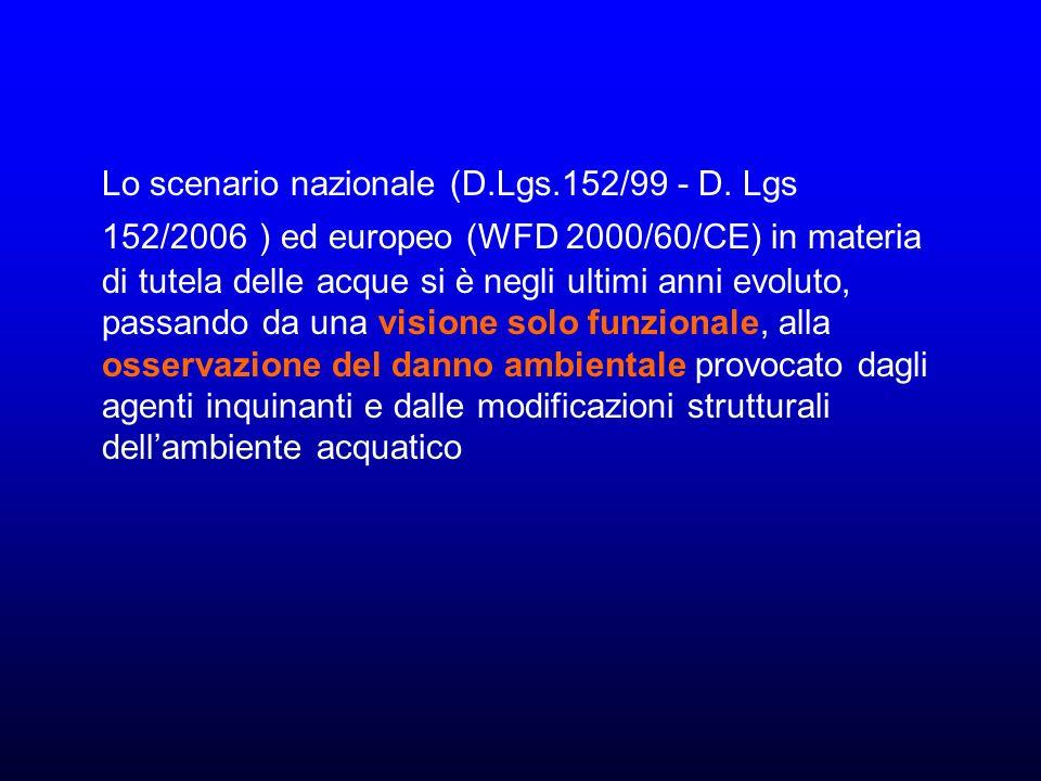 Lo scenario nazionale (D. Lgs. 152/99 - D