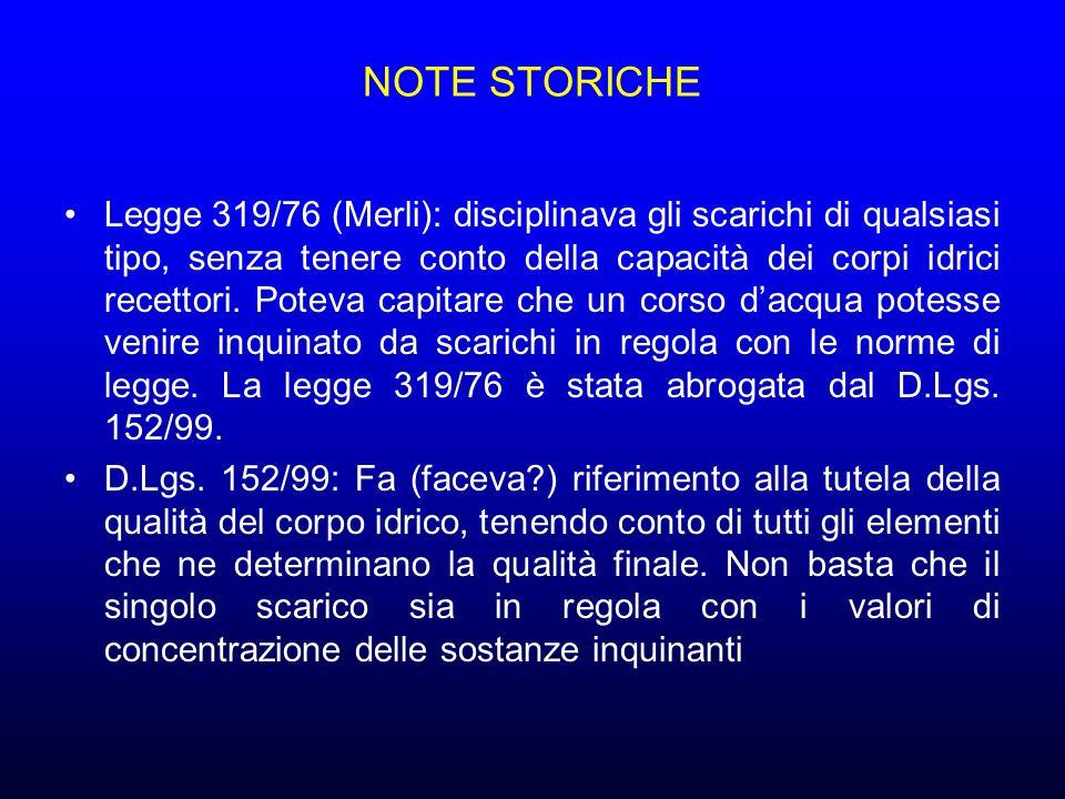 NOTE STORICHE