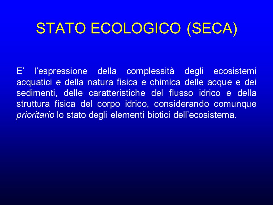 STATO ECOLOGICO (SECA)