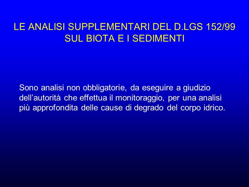LE ANALISI SUPPLEMENTARI DEL D.LGS 152/99 SUL BIOTA E I SEDIMENTI