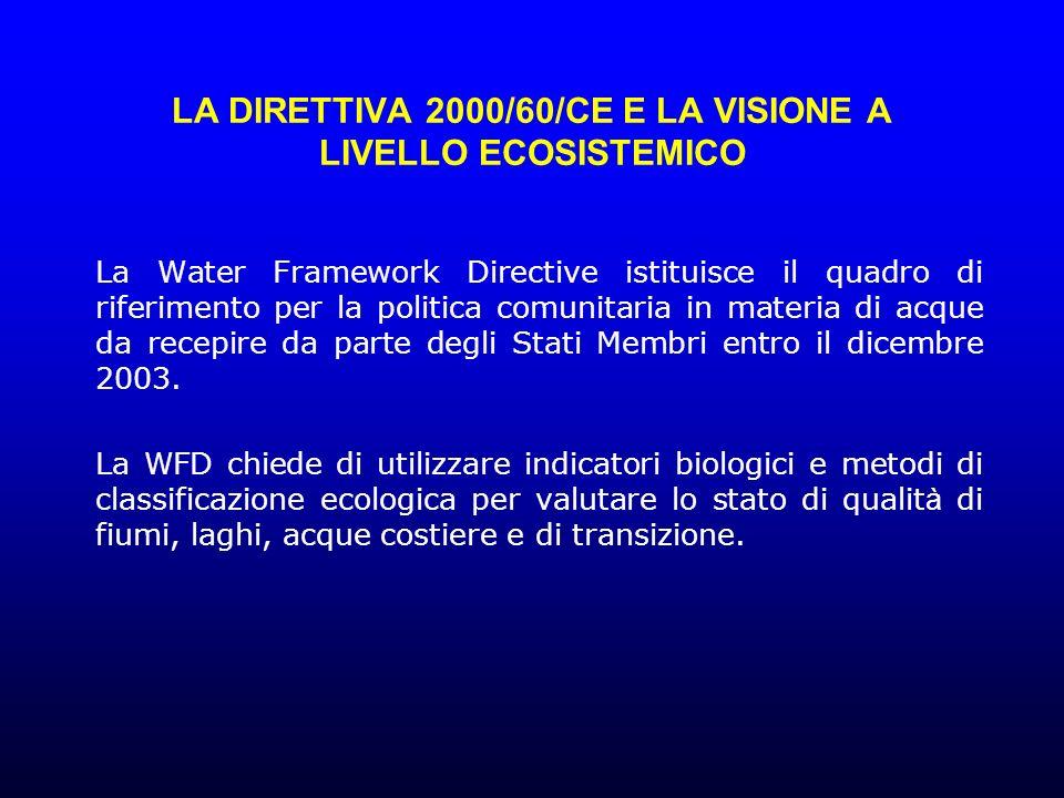 LA DIRETTIVA 2000/60/CE E LA VISIONE A LIVELLO ECOSISTEMICO