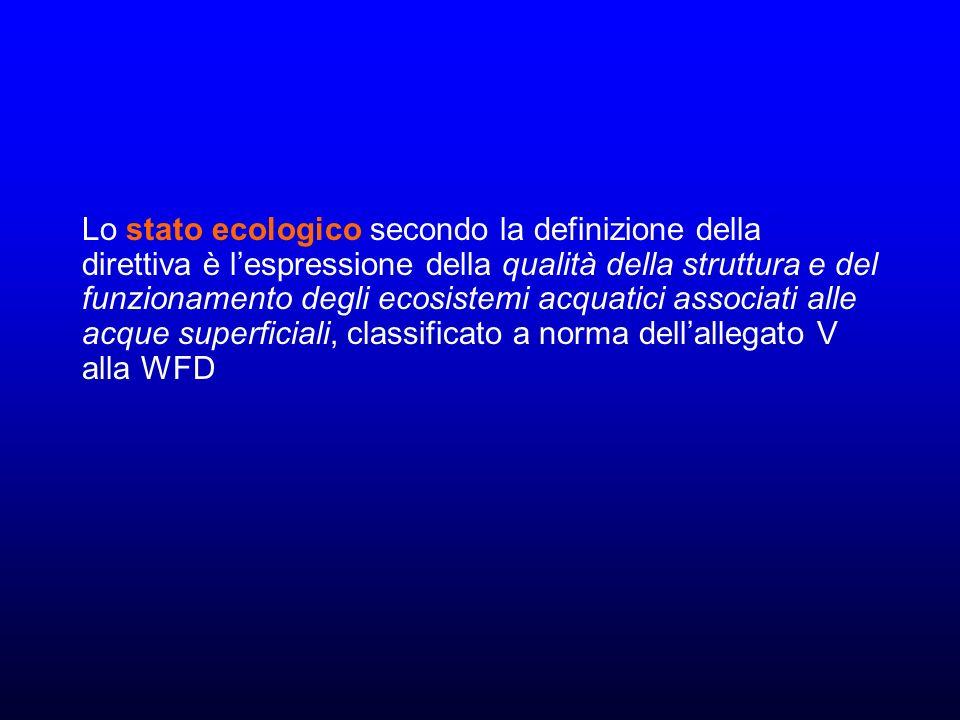 Lo stato ecologico secondo la definizione della direttiva è l'espressione della qualità della struttura e del funzionamento degli ecosistemi acquatici associati alle acque superficiali, classificato a norma dell'allegato V alla WFD