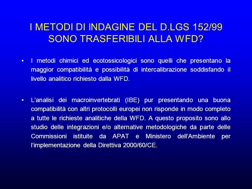 I METODI DI INDAGINE DEL D.LGS 152/99 SONO TRASFERIBILI ALLA WFD