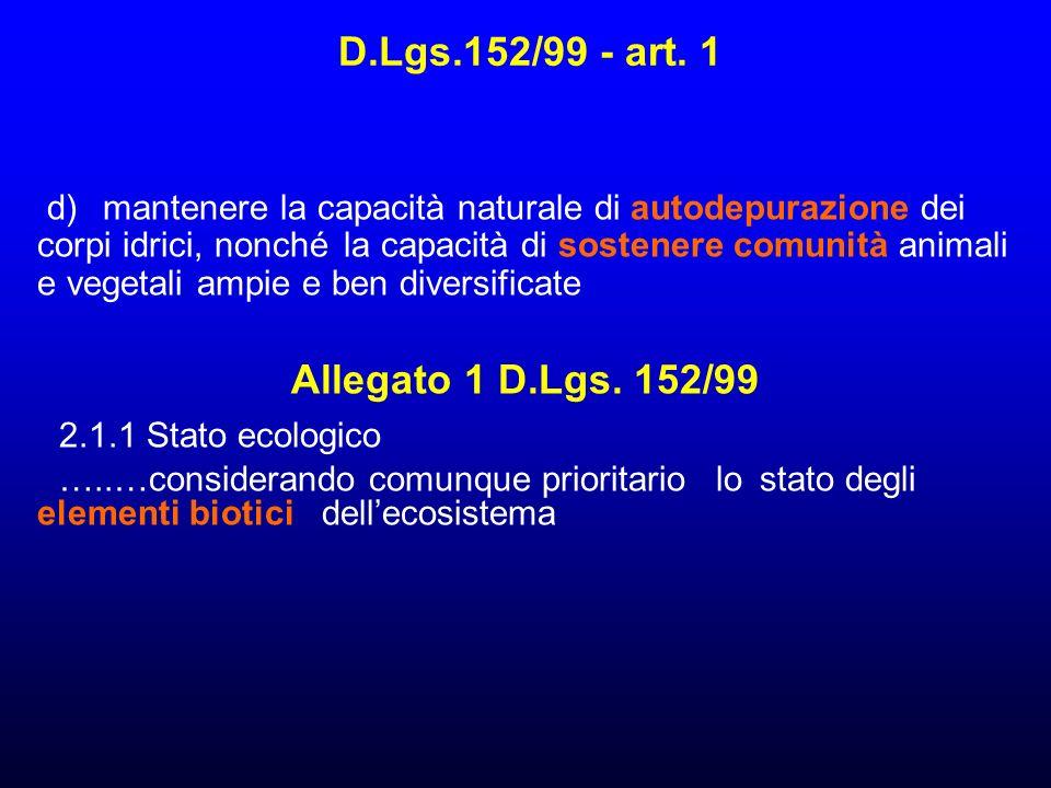D.Lgs.152/99 - art. 1 Allegato 1 D.Lgs. 152/99 2.1.1 Stato ecologico