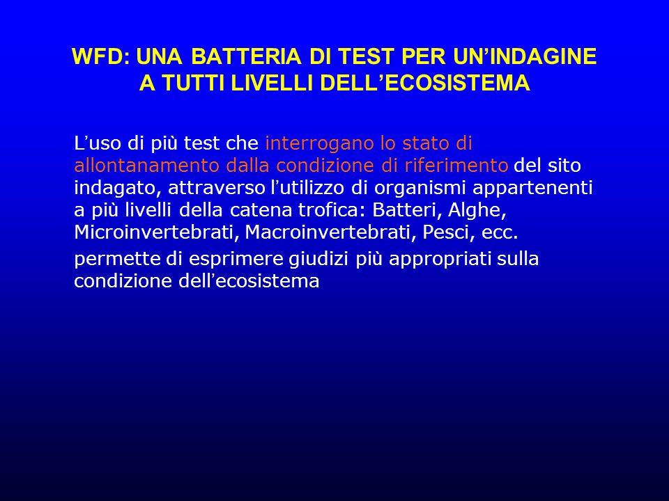 WFD: UNA BATTERIA DI TEST PER UN'INDAGINE A TUTTI LIVELLI DELL'ECOSISTEMA