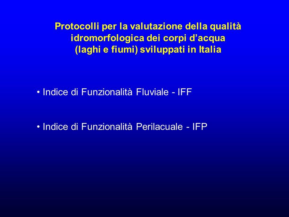 Protocolli per la valutazione della qualità idromorfologica dei corpi d'acqua (laghi e fiumi) sviluppati in Italia
