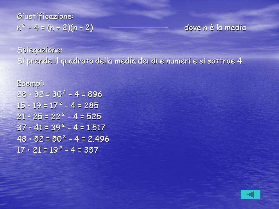 Giustificazione: n² - 4 = (n + 2)(n – 2) dove n è la media. Spiegazione: Si prende il quadrato della media dei due numeri e si sottrae 4.
