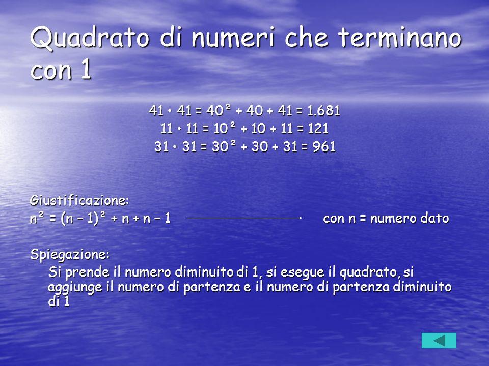Quadrato di numeri che terminano con 1