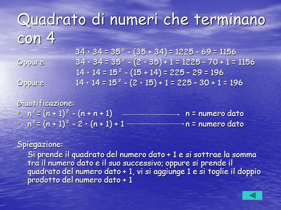 Quadrato di numeri che terminano con 4