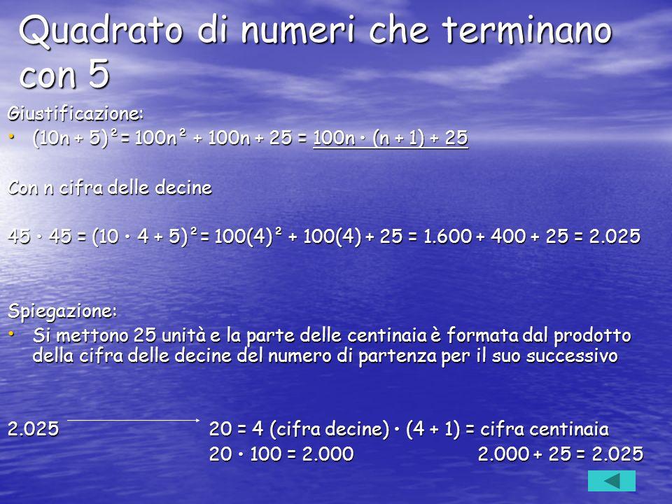 Quadrato di numeri che terminano con 5
