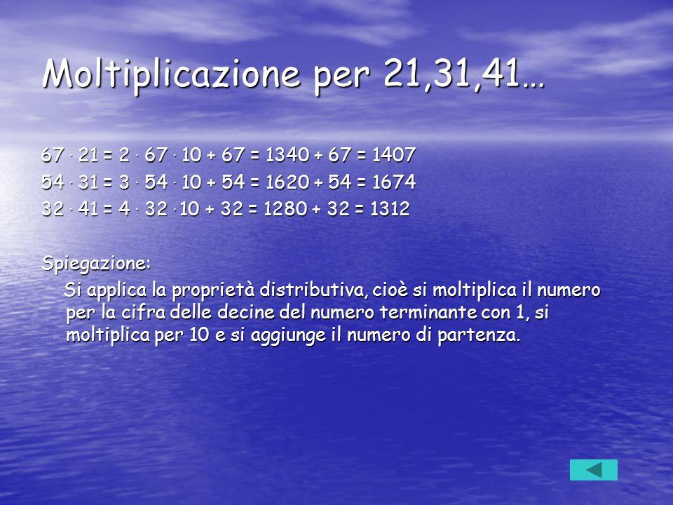 Moltiplicazione per 21,31,41… 67 . 21 = 2 . 67 . 10 + 67 = 1340 + 67 = 1407. 54 . 31 = 3 . 54 . 10 + 54 = 1620 + 54 = 1674.