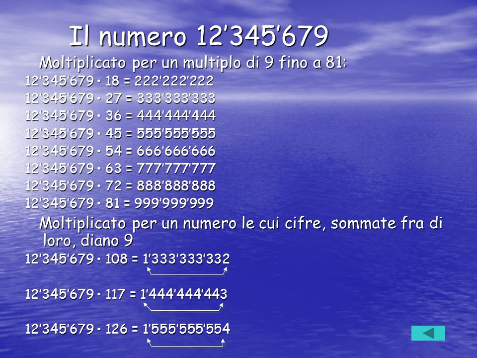 Il numero 12'345'679 Moltiplicato per un multiplo di 9 fino a 81: