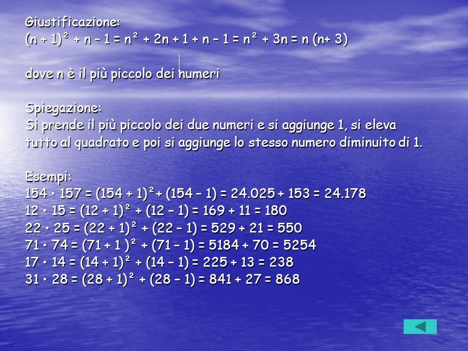 Giustificazione: (n + 1)² + n – 1 = n² + 2n + 1 + n – 1 = n² + 3n = n (n+ 3) dove n è il più piccolo dei numeri.