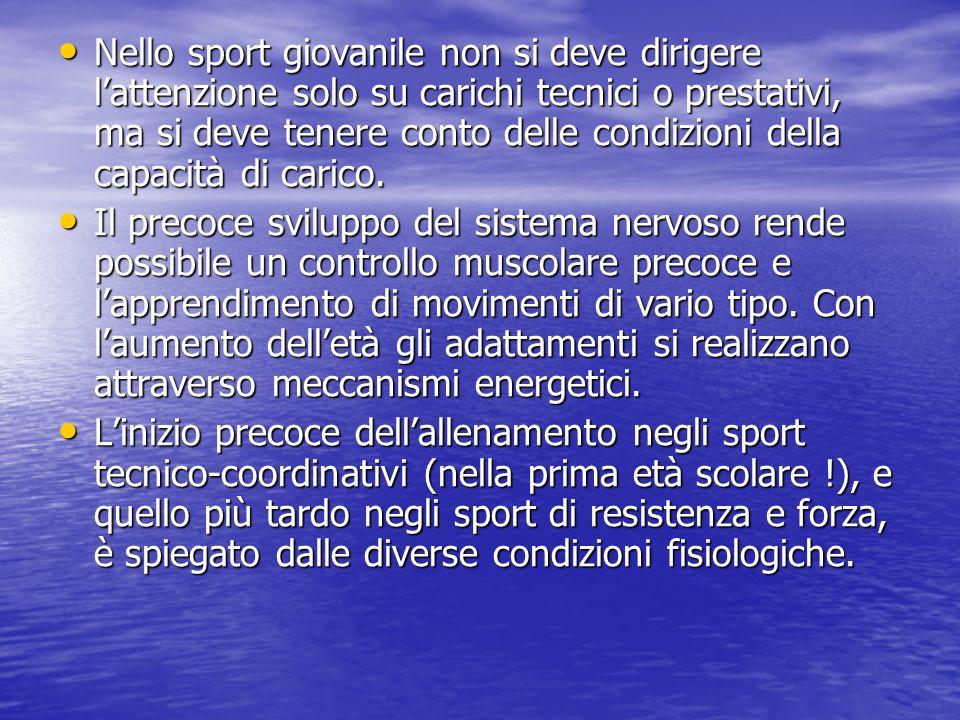 Nello sport giovanile non si deve dirigere l'attenzione solo su carichi tecnici o prestativi, ma si deve tenere conto delle condizioni della capacità di carico.